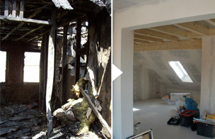Brandschaden Vorher Nachher / Brandschadensanierung / Sanierung Brandschaden